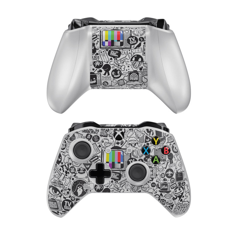 Xbox One Controller Skin design of Pattern, Drawing, Doodle, Design, Visual arts, Font, Black-and-white, Monochrome, Illustration, Art with gray, black, white colors