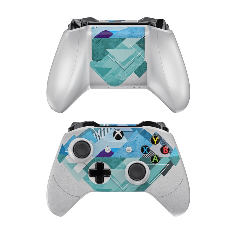 Xbox One Controller Skin design of Blue, Turquoise, Illustration, Graphic design, Design, Line, Logo, Triangle, Graphics with gray, blue, purple colors