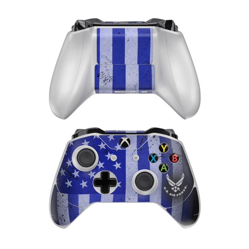 Xbox One Controller Skin design of Text, Font, Design, Pattern, Flag, Graphic design, Logo, Graphics, Illustration with black, gray, blue, purple colors