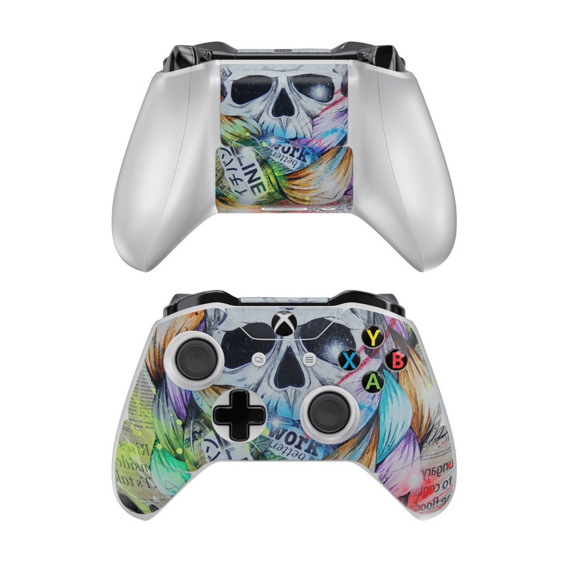 Xbox One Controller Skin design of Street art, Text, Graphic design, Font, Illustration, Art, Graffiti, Skull, Poster, Advertising with gray, black, red, green, blue colors