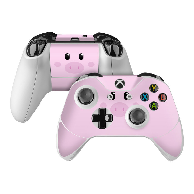 Xbox One Controller Skin design of Pink, Cartoon, Violet, Nose, Purple, Snout, Suidae, Material property, Illustration, Animation with pink, black, white colors