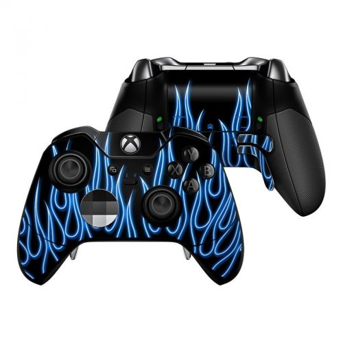 Blue Neon Flames Xbox One Elite Controller Skin
