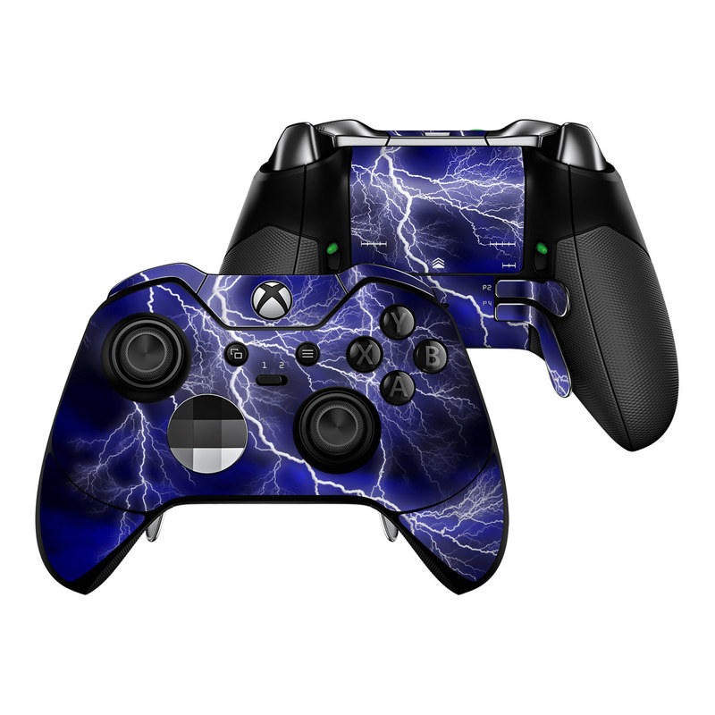 Xbox One Elite Controller Skin design of Thunder, Lightning, Thunderstorm, Sky, Nature, Electric blue, Atmosphere, Daytime, Blue, Atmospheric phenomenon with blue, black, white colors