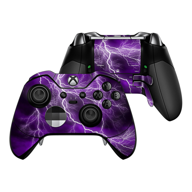 Xbox One Elite Controller Skin design of Thunder, Lightning, Thunderstorm, Sky, Nature, Purple, Violet, Atmosphere, Storm, Electric blue with purple, black, white colors
