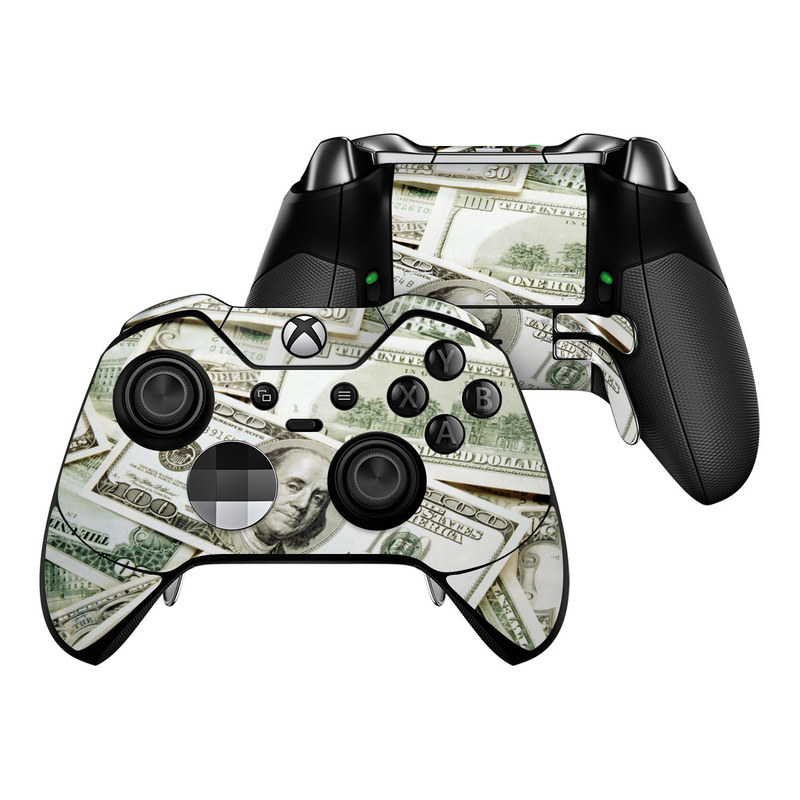 Xbox One Elite Controller Skin design of Money, Cash, Currency, Banknote, Dollar, Saving, Money handling, Paper, Stock photography, Paper product with green, white, black, gray colors