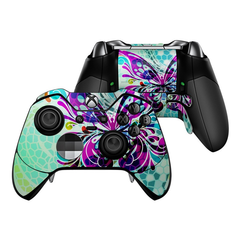 Xbox One Elite Controller Skin design of Butterfly, Pattern, Insect, Moths and butterflies, Purple, Graphic design, Design, Pollinator, Visual arts, Magenta with blue, green, purple colors