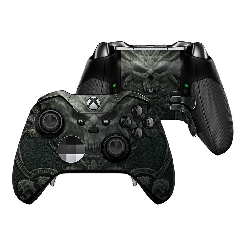 Xbox One Elite Controller Skin design of Demon, Dragon, Fictional character, Illustration, Supernatural creature, Drawing, Symmetry, Art, Mythology, Mythical creature with black, gray colors