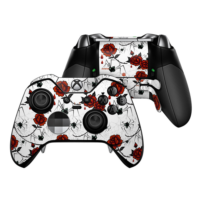 Xbox One Elite Controller Skin design of Red, Pattern, Flower, Plant, Design, Floral design, Petal, Coquelicot, Wildflower, Rose with black, white, red colors