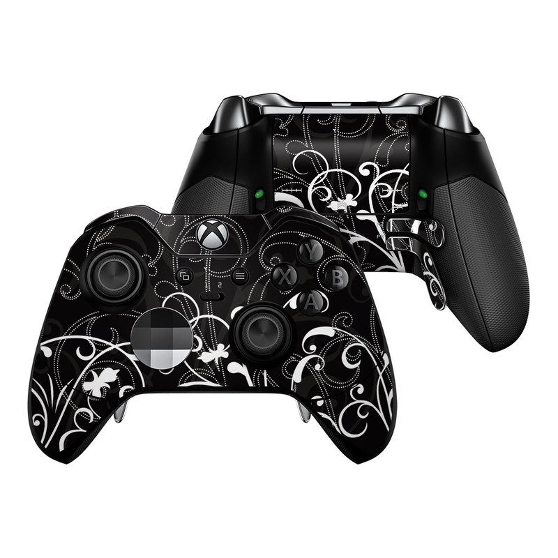 Xbox One Elite Controller Skin design of Black, Pattern, Black-and-white, Monochrome photography, Design, Monochrome, Circle, Floral design, Font, Graphic design with black, white colors