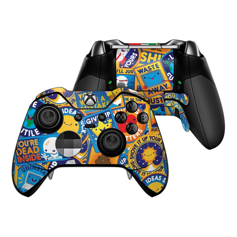 Xbox One Elite Controller Skin design of Pattern, Visual arts, Design, Art, Mosaic, Psychedelic art with blue, yellow, orange, white, green, red, gray colors