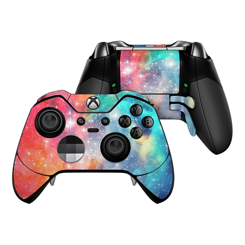 Xbox One Elite Controller Skin design of Nebula, Sky, Astronomical object, Outer space, Atmosphere, Universe, Space, Galaxy, Celestial event, Star with white, black, red, orange, yellow, blue colors