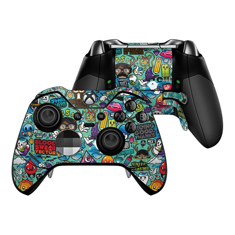 Xbox One Elite Controller Skin design of Cartoon, Art, Pattern, Design, Illustration, Visual arts, Doodle, Psychedelic art with black, blue, gray, red, green colors