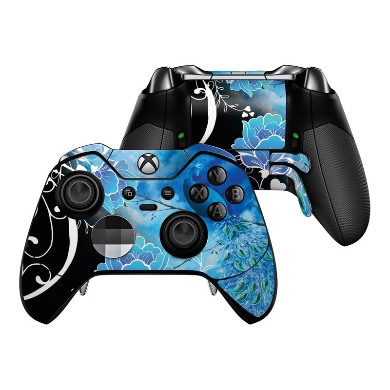 Xbox One Elite Controller Skin design of Blue, Pattern, Graphic design, Design, Illustration, Organism, Visual arts, Graphics, Plant, Art with black, blue, gray, white colors