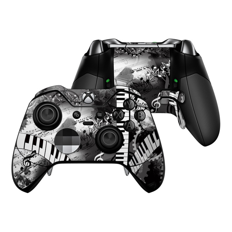 Xbox One Elite Controller Skin design of Music, Monochrome, Black-and-white, Illustration, Graphic design, Musical instrument, Technology, Musical keyboard, Piano, Electronic instrument with black, gray, white colors