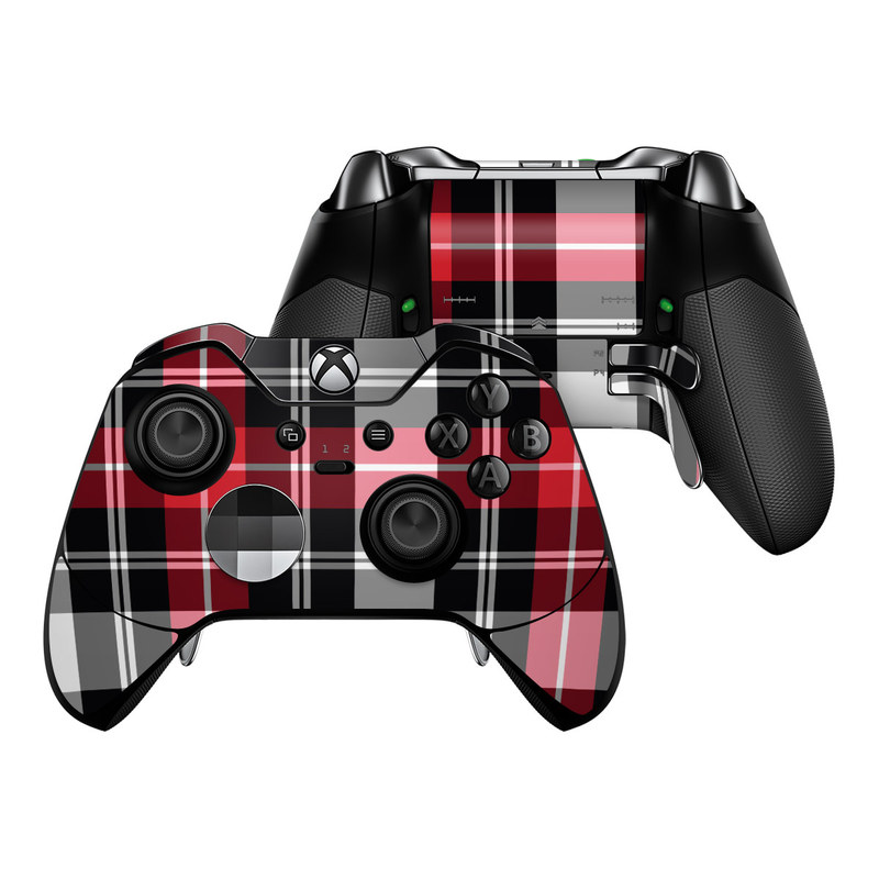 Xbox One Elite Controller Skin design of Plaid, Tartan, Pattern, Red, Textile, Design, Line, Pink, Magenta, Square with black, gray, pink, red, white colors