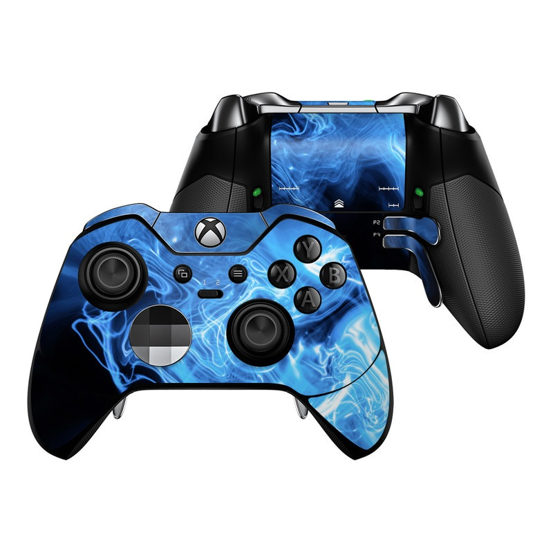 Xbox One Elite Controller Skin design of Blue, Water, Electric blue, Organism, Pattern, Smoke, Liquid, Art with blue, black, purple colors