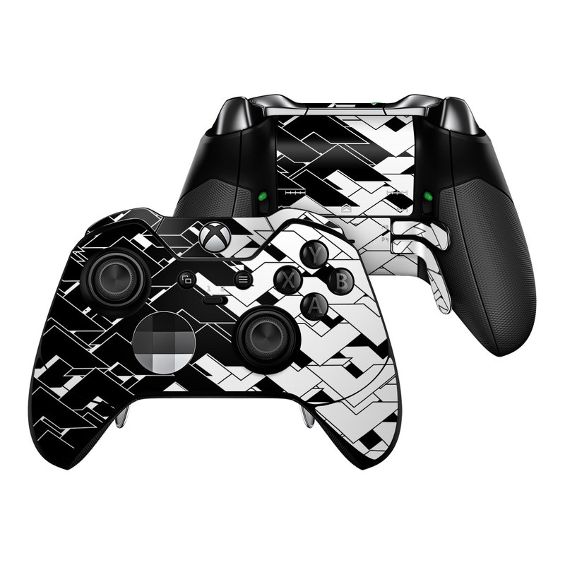 Xbox One Elite Controller Skin design of Pattern, Black, Black-and-white, Monochrome, Monochrome photography, Line, Design, Parallel, Font with black, white colors