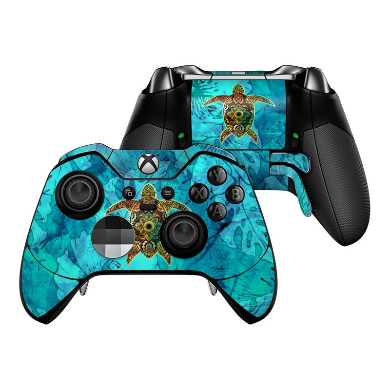 Xbox One Elite Controller Skin design of Sea turtle, Green sea turtle, Turtle, Hawksbill sea turtle, Tortoise, Reptile, Loggerhead sea turtle, Illustration, Art, Pattern with blue, black, green, gray, red colors
