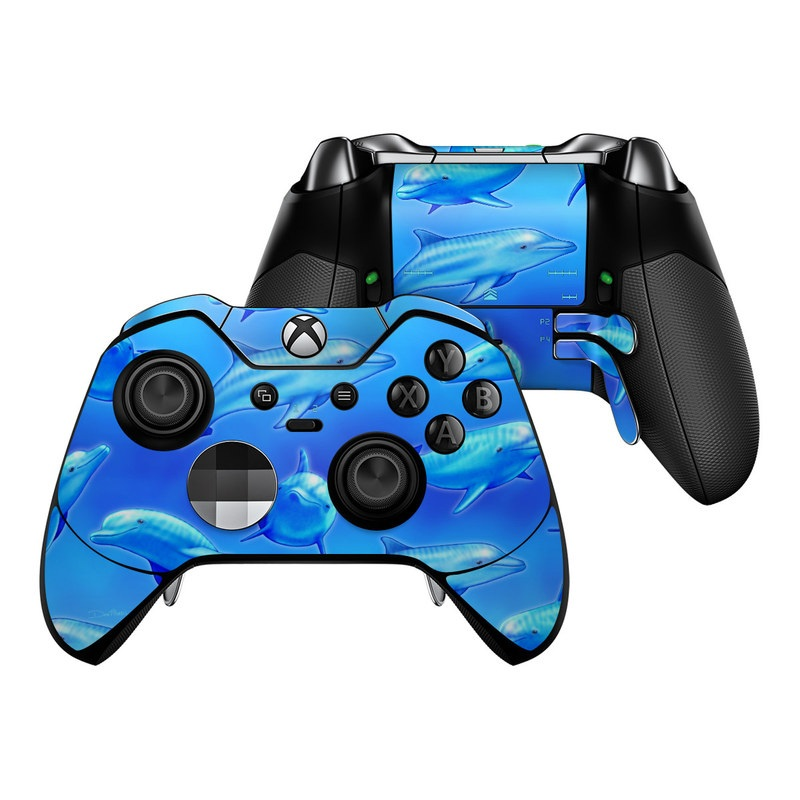 Xbox One Elite Controller Skin design of Fin, Marine biology, Fish, Cobalt blue, Blue, Underwater, Marine mammal, Dolphin, Electric blue with blue colors
