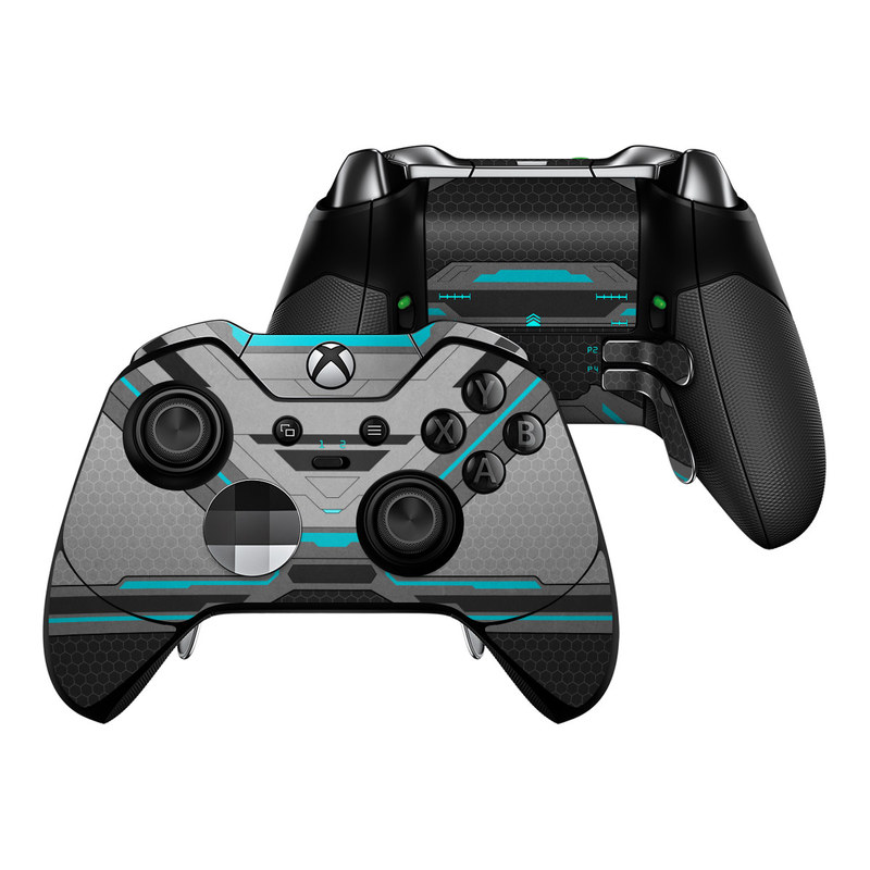 Xbox One Elite Controller Skin design of Blue, Turquoise, Pattern, Teal, Symmetry, Design, Line, Automotive design, Font with black, gray, blue colors