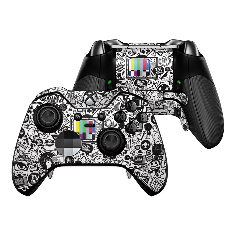 Xbox One Elite Controller Skin design of Pattern, Drawing, Doodle, Design, Visual arts, Font, Black-and-white, Monochrome, Illustration, Art with gray, black, white colors