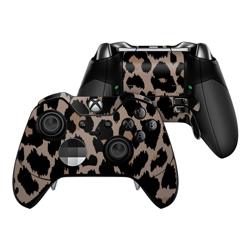 Xbox One Elite Controller Skin design of Pattern, Brown, Fur, Design, Textile, Monochrome, Fawn with black, gray, red, green colors