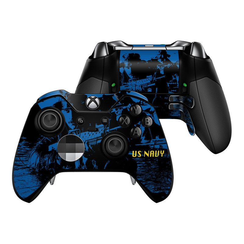 Xbox One Elite Controller Skin design of Water, Vehicle, Boat, Recreation, Reflection, Watercraft with black, blue colors