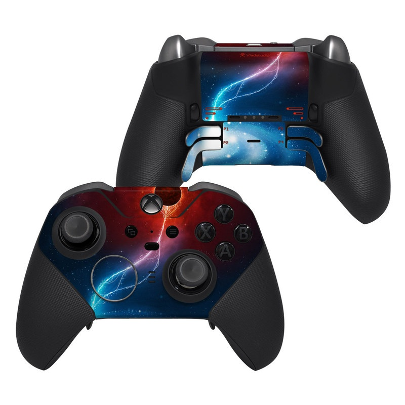 Xbox Elite Controller Series 2 Skin design of Outer space, Atmosphere, Astronomical object, Universe, Space, Sky, Planet, Astronomy, Celestial event, Galaxy with blue, red, black colors