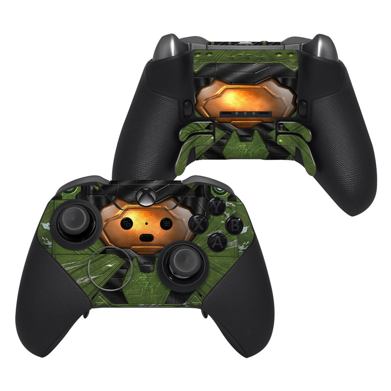 Xbox Elite Controller Series 2 Skin design of Green, Fictional character, Games, Fiction, Pc game, Illustration, Strategy video game, Digital compositing, Art, Screenshot with green, yellow, orange, black colors