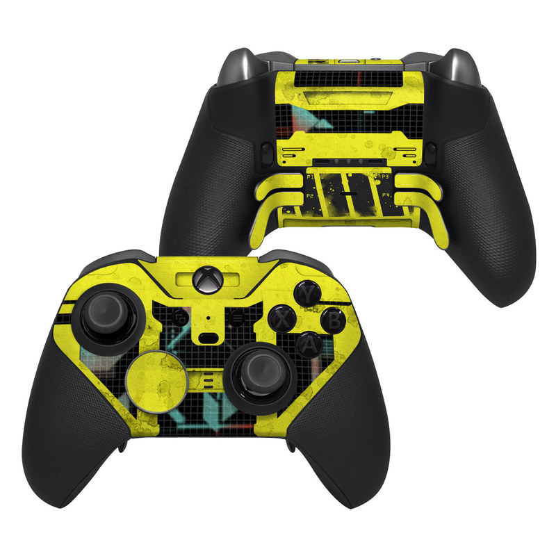 Xbox Elite Controller Series 2 Skin design of Yellow, Green, Font, Pattern, Graphic design with black, yellow, gray, blue, green colors