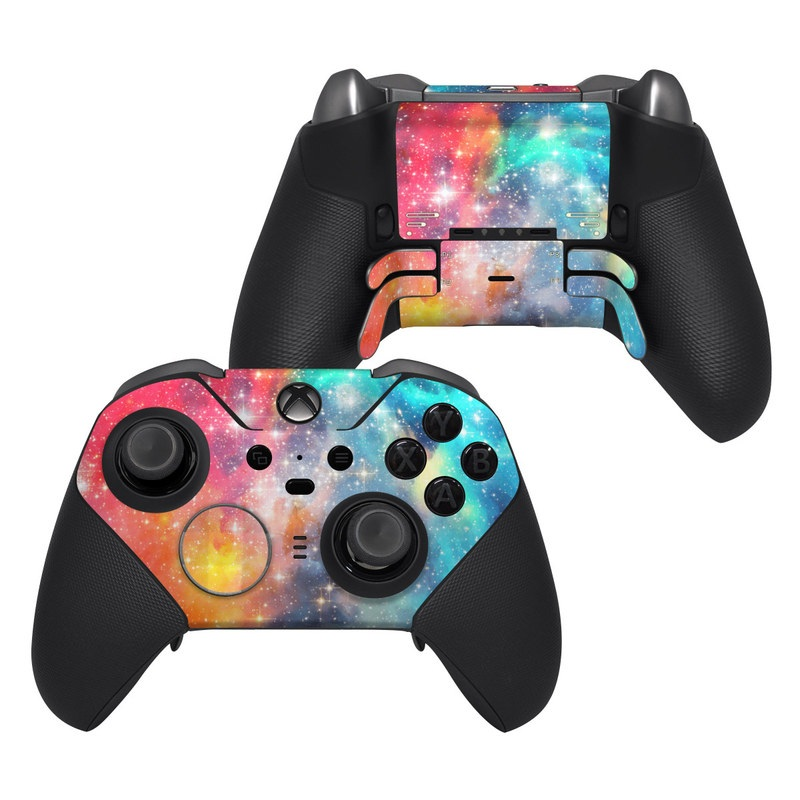 Xbox Elite Controller Series 2 Skin design of Nebula, Sky, Astronomical object, Outer space, Atmosphere, Universe, Space, Galaxy, Celestial event, Star with white, black, red, orange, yellow, blue colors