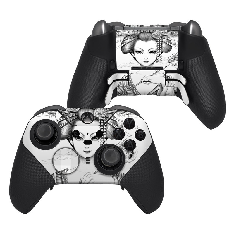 Xbox Elite Controller Series 2 Skin design of Illustration, Head, Hairstyle, Line art, Art, Fashion illustration, Drawing, Coloring book, Black-and-white, Clip art with black, white, gray colors