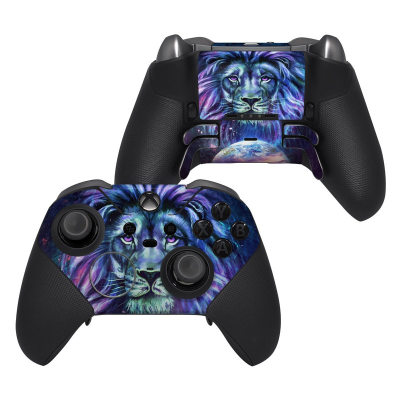 Xbox Elite Controller Series 2 Skin design of Lion, Felidae, Purple, Wildlife, Big cats, Illustration, Darkness, Space, Painting, Art with purple, blue, green, black, white, red colors