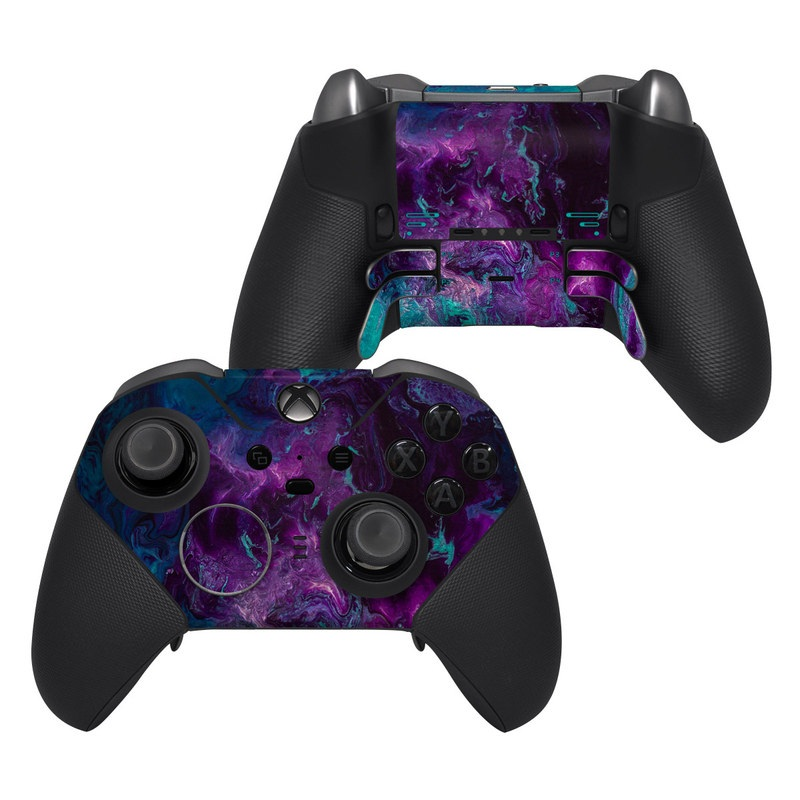 Xbox Elite Controller Series 2 Skin design of Blue, Purple, Violet, Water, Turquoise, Aqua, Pink, Magenta, Teal, Electric blue with blue, purple, black colors