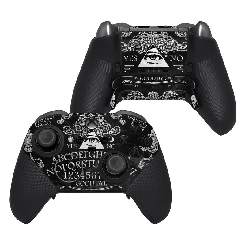 Xbox Elite Controller Series 2 Skin design of Text, Font, Pattern, Design, Illustration, Headpiece, Tiara, Black-and-white, Calligraphy, Hair accessory with black, white, gray colors