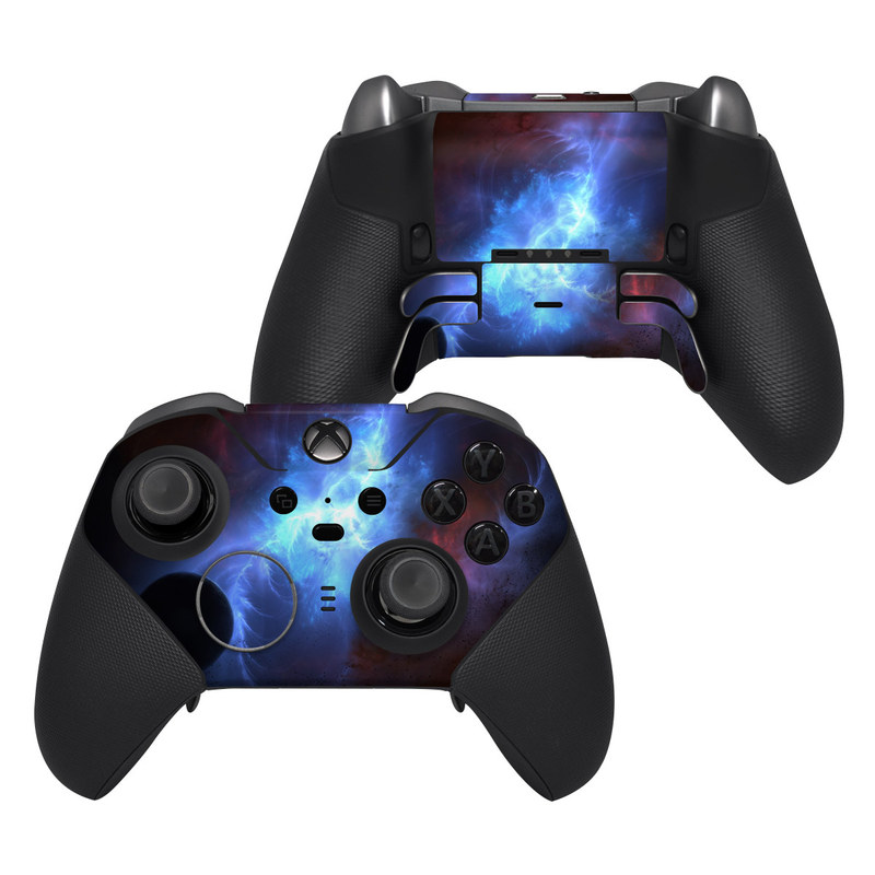 Xbox Elite Controller Series 2 Skin design of Sky, Atmosphere, Outer space, Space, Astronomical object, Fractal art, Universe, Electric blue, Art, Organism with black, blue, purple colors