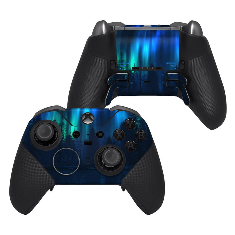 Xbox Elite Controller Series 2 Skin design of Blue, Light, Natural environment, Tree, Sky, Forest, Darkness, Aurora, Night, Electric blue with black, blue colors
