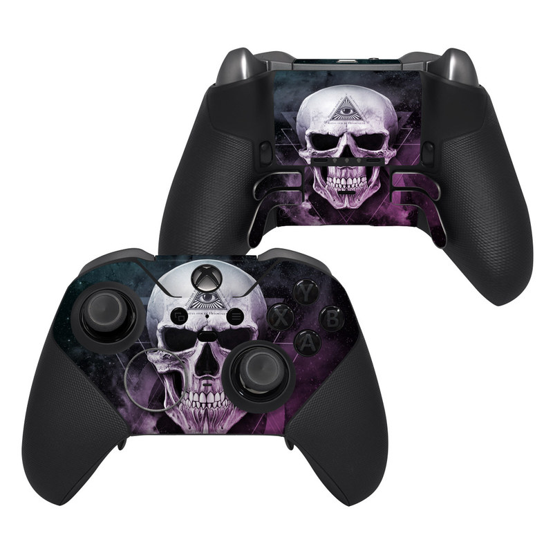 Xbox Elite Controller Series 2 Skin design of Skull, Bone, Illustration, Font, Jaw, Fictional character, Graphic design, Graphics, Art with black, white, gray, purple colors