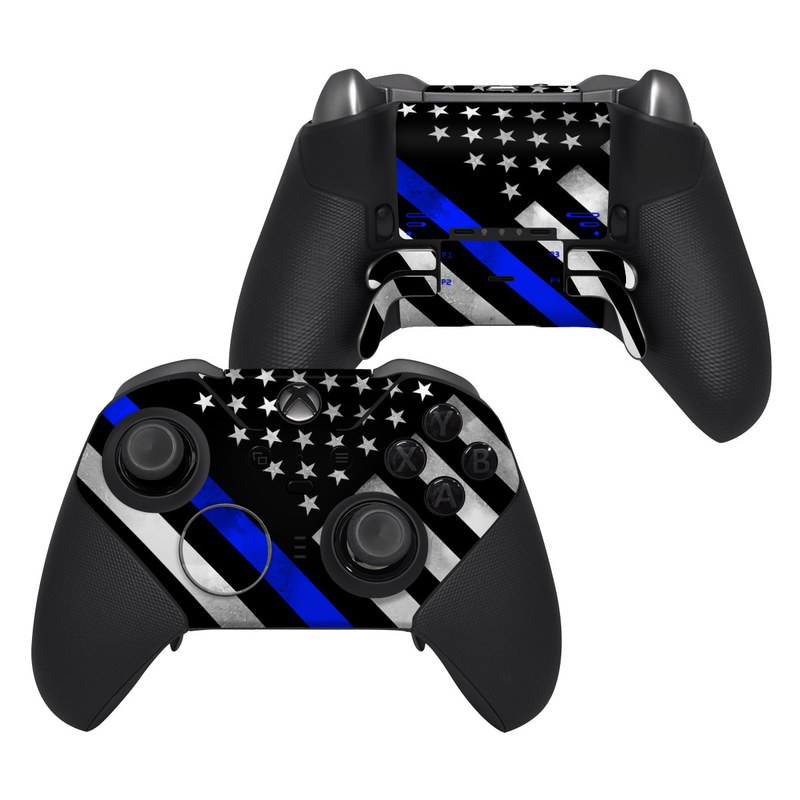 Xbox Elite Controller Series 2 Skin design of Flag of the united states, Flag, Cobalt blue, Pattern, Line, Black-and-white, Design, Monochrome, Electric blue, Parallel with black, white, gray, blue colors