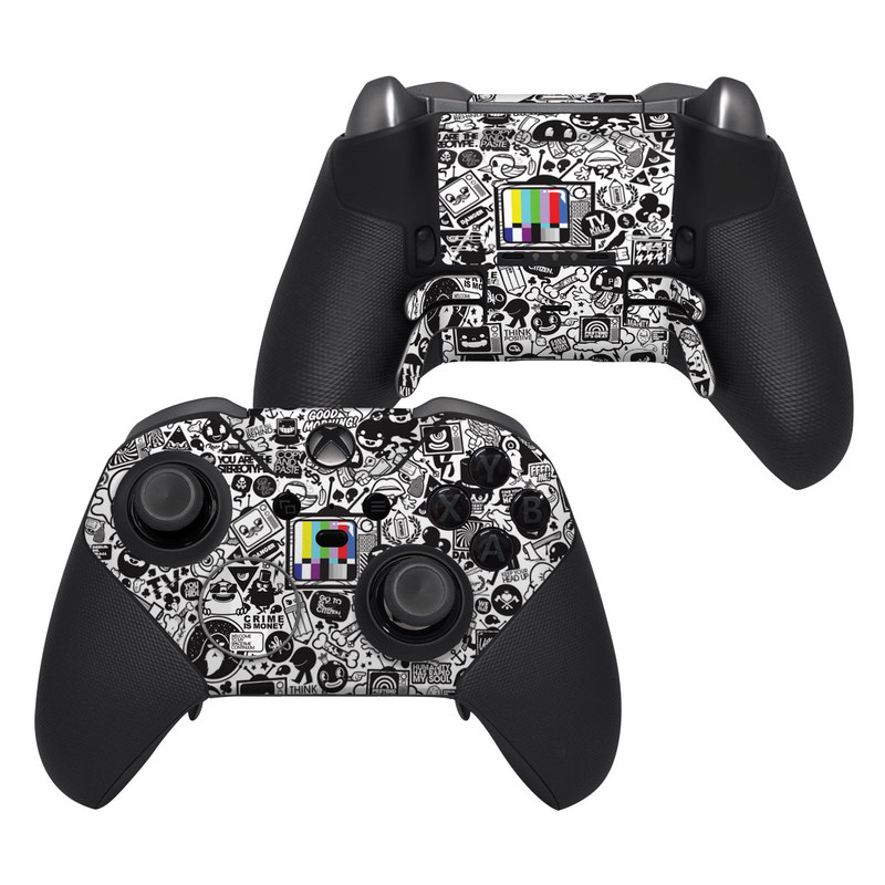 Xbox Elite Controller Series 2 Skin design of Pattern, Drawing, Doodle, Design, Visual arts, Font, Black-and-white, Monochrome, Illustration, Art with gray, black, white colors