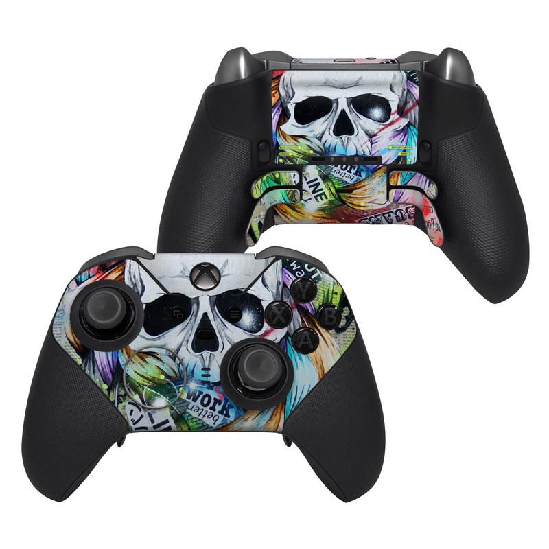 Xbox Elite Controller Series 2 Skin design of Street art, Text, Graphic design, Font, Illustration, Art, Graffiti, Skull, Poster, Advertising with gray, black, red, green, blue colors