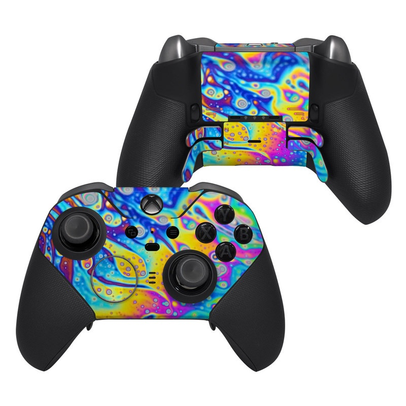 Xbox Elite Controller Series 2 Skin design of Psychedelic art, Blue, Pattern, Art, Visual arts, Water, Organism, Colorfulness, Design, Textile with gray, blue, orange, purple, green colors