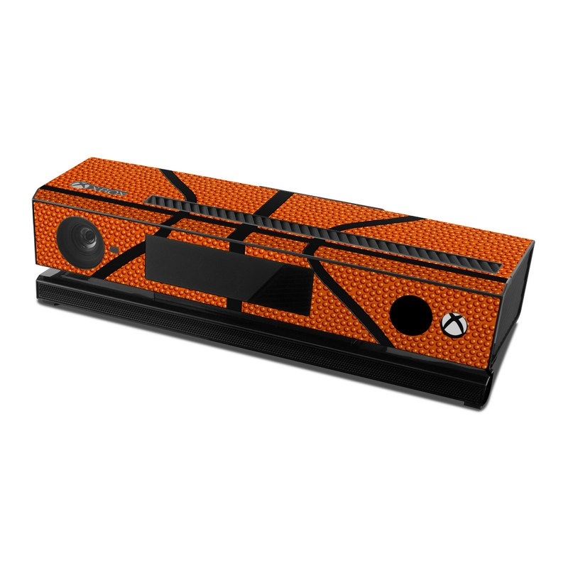 Xbox One Kinect Skin design of Orange, Basketball, Line, Pattern, Sport venue, Brown, Yellow, Design, Net, Team sport with orange, black colors