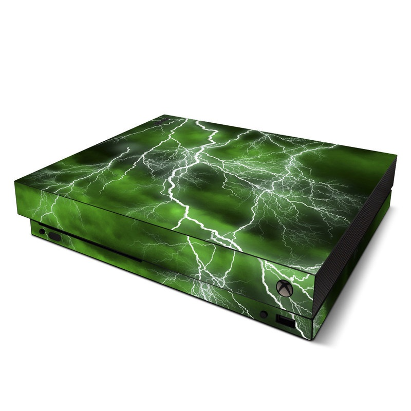 Xbox One X Skin design of Thunderstorm, Thunder, Lightning, Nature, Green, Water, Sky, Atmosphere, Atmospheric phenomenon, Daytime with green, black, white colors