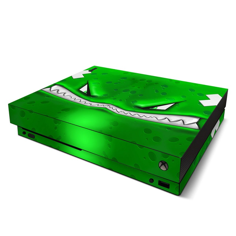 Xbox One X Skin design of Green, Font, Animation, Logo, Graphics, Games with green, white colors