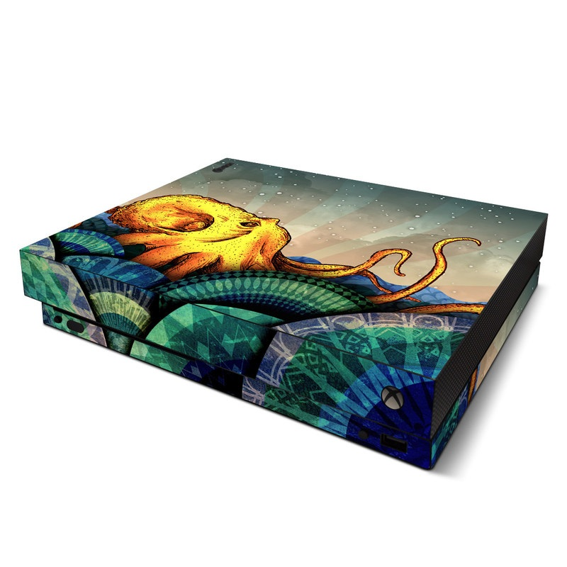 Xbox One X Skin design of Illustration, Fractal art, Art, Cg artwork, Sky, Organism, Psychedelic art, Graphic design, Graphics, Octopus with black, gray, blue, green, red colors
