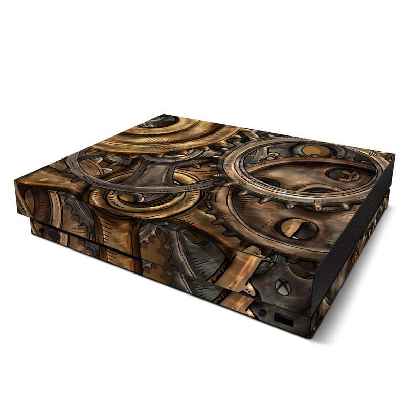 Xbox One X Skin design of Metal, Auto part, Bronze, Brass, Copper with black, red, green, gray colors