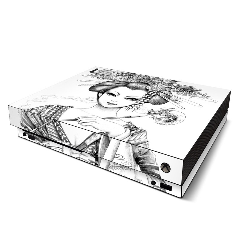 Xbox One X Skin design of Illustration, Head, Hairstyle, Line art, Art, Fashion illustration, Drawing, Coloring book, Black-and-white, Clip art with black, white, gray colors