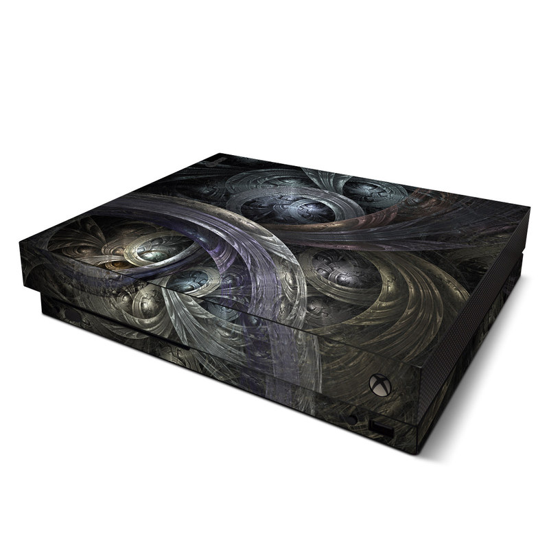 Xbox One X Skin design of Fractal art, Graphic design, Art, Cg artwork, Darkness, Circle, Pattern, Illustration, Graphics, Metal with black, gray, blue colors