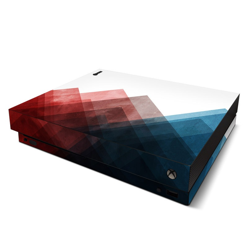Xbox One X Skin design of Blue, Red, Sky, Pink, Line, Architecture, Font, Graphic design, Colorfulness, Illustration with red, pink, blue colors